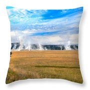 A View Of Geysers  Throw Pillow
