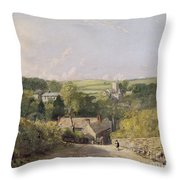 A View Of Osmington Village With The Church And Vicarage Throw Pillow