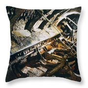 A View Of The Corroded Interior Throw Pillow