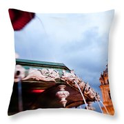 A View Of The Fountain In The Plaza De Throw Pillow