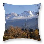 A View Toward Mt Shasta In Autumn Throw Pillow