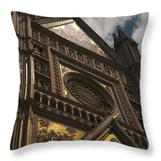 A View Upward At The Duomo Di Orvieto Throw Pillow