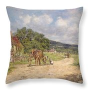 A Village Scene Throw Pillow
