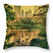 A Vintage Glimpse Of The Boating Lake Throw Pillow
