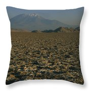 A Volcano Rises Above A Dry Lake Bed Throw Pillow