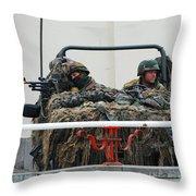 A Vw Iltis Recce Jeep On Guard Throw Pillow