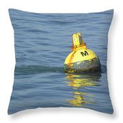 A Water Buoy In The Blue Water Of San Francisco Bay Throw Pillow