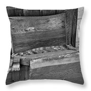 A Weathered Bench Black And White Throw Pillow