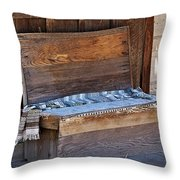 A Weathered Bench Throw Pillow