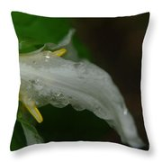 A Wet Trillium Throw Pillow