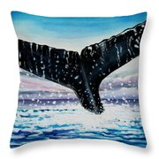 A Whale And A Violet Sunset Throw Pillow