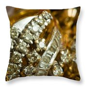 A White Gold Bracelet Among Other Yellow Gold Jewellery Throw Pillow