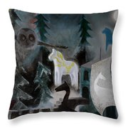 A White Horse Throw Pillow