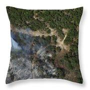 A Wildfire Burns Land Near Austin Throw Pillow