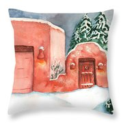 A Winter Clad Santa Fe Throw Pillow