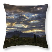 A Winter Sunrise In The Desert  Throw Pillow
