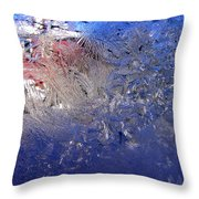 A Wintry Icy Window Throw Pillow