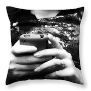 A Woman And Her Phone Throw Pillow