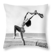 A Woman Dancing On The Shore Throw Pillow
