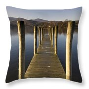A Wooden Dock Going Into The Lake Throw Pillow