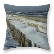 A Wooden Fence Casts A Shadow Throw Pillow