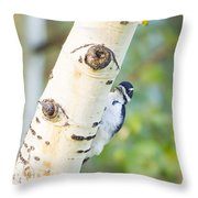 A Woodpeck Behind An Eye Of A Tree Throw Pillow