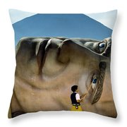 A Worker At The Defunct Gullivers Throw Pillow