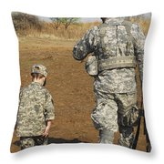 A Young Boy Joins His Squad Leader Throw Pillow