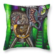 Aarron And Spacedog Arrive On The Spaceship Throw Pillow