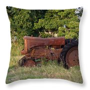 Abandonded Farm Tractor 2 Throw Pillow