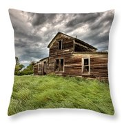 Abandoned Farm Buildings Saskatchewan Throw Pillow