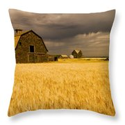 Abandoned Farm, Wind-blown Durum Wheat Throw Pillow