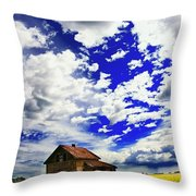 Abandoned Farmhouse In A Canola Field Throw Pillow