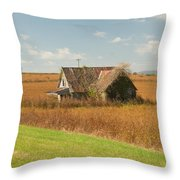 Abandoned Farmhouse In Field 2 Throw Pillow