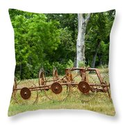 Abandoned Hay Rake 2 Throw Pillow