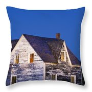 Abandoned House And Moon At Dusk Throw Pillow