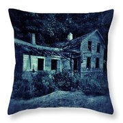 Abandoned House At Night Throw Pillow