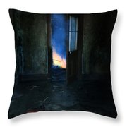 Abandoned House On Fire Throw Pillow