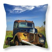 Abandoned Rusty Truck Throw Pillow
