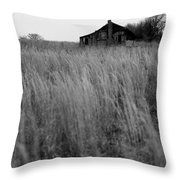 Abandoned Shack Bw Throw Pillow