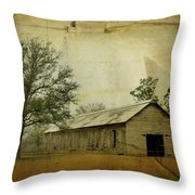 Abandoned Tobacco Barn Throw Pillow