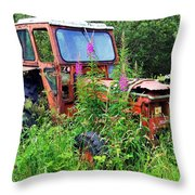 Abandoned Tractor Throw Pillow