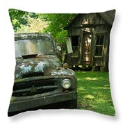 Abandoned Truck At Post Office Throw Pillow