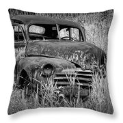 Abandoned Vintage Car Along The Roadside Throw Pillow