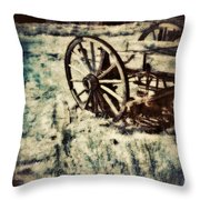Abandoned Wagon By Old Ghost Town. Throw Pillow