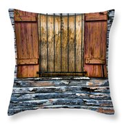 Abandoned Wood Building Throw Pillow