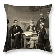 Abraham Lincoln At The First Reading Of The Emancipation Proclamation - July 22 1862 Throw Pillow