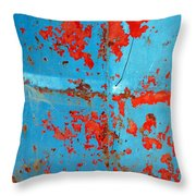 Abstrac Texture Of The Paint Peeling Iron Drum Throw Pillow