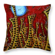 Abstract Art Contemporary Coastal Cityscape 3 Of 3 Capturing The Heart Of The City IIi By Madart Throw Pillow
