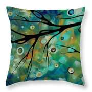 Abstract Art Original Landscape Painting Colorful Circles Morning Blues II By Madart Throw Pillow